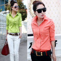 Women's slim basic shirt 2014 spring long-sleeve