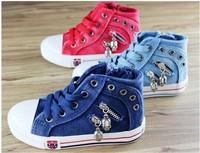 2014 new children Canvas Sneakers,kids jean canvas shoes children sneakers for girls/boys Flats  shoe denim jeans  25-37