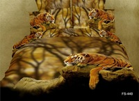 3D boutique textile city animal bedding cotton denim cotton denim special tiger painting