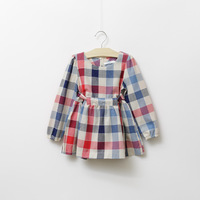 new 2014 spring and autumn children clothes girl's plaid bow belt long-sleeve dresses british style suit for 3A-8A