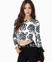 crop top for women fashion 2014 spring summer sexy floral print white cotton t shirt long sleeve tee plus size free ship