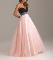 2014 New Free Shipping ! Cheap Price ! Sweetheart Beading Crystal Floor Lenght Tulle Black Pink & Blue Evening Dresses OL3356