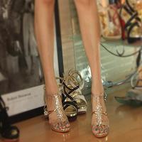 New 2014 fashion brand women pumps sexy Rhinestone high heels peep toes sandals,wedding shoes,wholesale 668