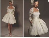 Cheap Price ! 2014 New Free Shipping A Line Knee Length White / Ivory Lace Wth Jacket Wedding Dresses OW 2114 In Stock