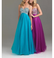 Blue Black 2015 New Free Shipping ! Cheap Price ! Sexy Sweetheart Crystal Floor Lenght Evening Dresses OL3358