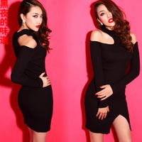 Fashion sexy cutout set slim vent tight-fitting knitted slim hip 2014 one-piece dress