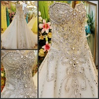 Luxury crystal 2014 bandage tube top train wedding dress bride xj8159