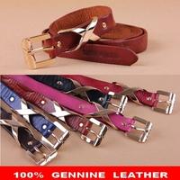 Genuine Leather Brand Belts For Women Strap Woman Belt Fashion Gold Buckles Skinny Women's Belts Cintos Femininos 2014 WBT0036