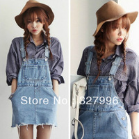 Free shipping  2014 ulzzang preppy style suspenders whisker denim one-piece dress female