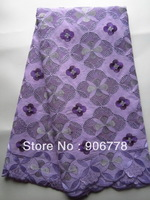 Lilac with purple color Swiss cotton voile lace of best quality emboridery cotton fabric pretty good quality for occasion