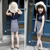 Navy wind stripe cotton summer dresses for girls sleeveless vest skirt suit wholesale