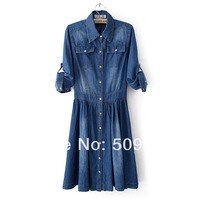 2014 spring medium-long dress slim pocket turn-down collar elastic waist denim one-piece princess two ways denim dress