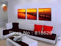 3 Pieces Amazing Sunset Bridge River Landscape View Wall Picture Living Room Decoration Modern Canvas Painting Art Pt457