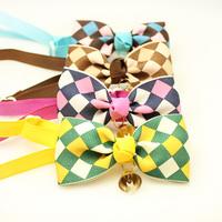 dreambows 31002  Handmade Dog Accessory  Ling -Shaped Lattice Ribbon Tie Bow  Pet Tie Collar.