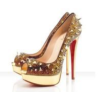 rhinestone rivets wedding shoes red bottom sandals for women 2014 thin heels women red bottom high heels peep-toe  women pumps