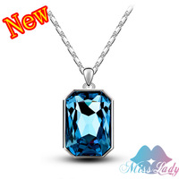 New 2014 18K Rose Gold Plated Rhinestone Crystal Vintage Quartet Necklaces Pendants Wholesales Fashion Jewelry for women Z1334