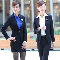 Work wear women shirt skirt autumn white collar set preppy style women's slim suit