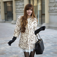 2014 fur leopard print classic vv full leather rabbit fur coat Y8P0