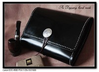 Premium LUXURY Gift UNIQUE Handmade VINTAGE Tobacco Pipe Pouch Bag Quality Genuine Black COW Leather Case Smoking Accessories