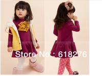 2014 New Fashion Solid Girl  Dress Cute Puff Sleeve  Children Dress Free Shipping