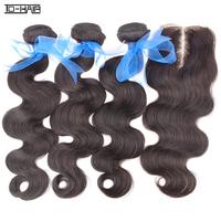 5A Remy Indian virgin hair body wave bundles with Middle part lace closure 4pcs lot unprocessed human hair natural color 1B#