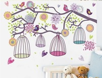 Colorful birdcage with birds singing Mediterranean Style Removable and Waterproof wall sticker/mural/decal for room decoration