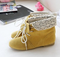 2012 spring and autumn single boots two ways lace cutout boots flat round toe comfortable all-match boots