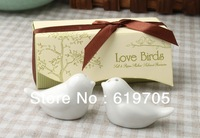 Free shipping Wedding favors 200pcs=100set ceramic Love Birds Salt and Pepper Shaker event party supplies