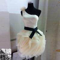 Fashion bridesmaid 2014 short design one shoulder multicolor