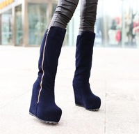 2013 medium-leg boots snow tall boots wedges boots side zipper nubuck leather boots elevator
