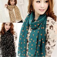 Min.order is $5(mix order) 2014 New Stylish Girl Long Soft Silk Chiffon Scarf Wrap Polka Dot Shawl Scarve For Women Hot 80056