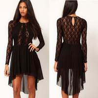 Chic Sexy Lady Splicing Lace Long Sleeve Dress Irregular Hem Club Cocktail Prom Free shipping&Dropshipping