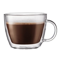 Bodum Bistro Double-Wall Insulated Glass coffee shop Latte Mug, Set of 2,BISTRO cafe latte cup,double wall,15 oz Transparent