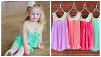 8 color girl pleated Summer Chiffon Dress Girl's Kids sequin lace beading Dresses Princess