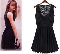 2014 European & American Temperament Elastic Back Hollow Lace Sleeveless Vest Dress Pleated Short Skirt For Women Free Shipping