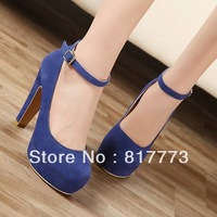 Free shipping  OL waterproof thick with single shoes professional office bind high-heeled shoes 35-39