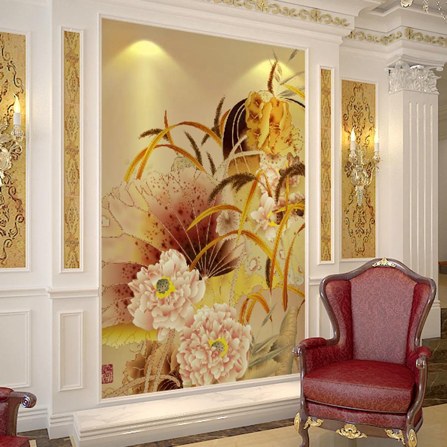 Mural canap fond mur tv papier peint chambre papier peint for Papier peint entree maison
