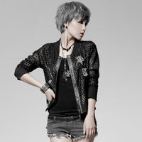 Punk rave autumn punk short jacket female cardigan outerwear female