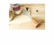 Hot Product / Zakka Smiley Wooden handle Stainless steel Spoon / Smiling Cute Tableware Crude Wood  MM-1031
