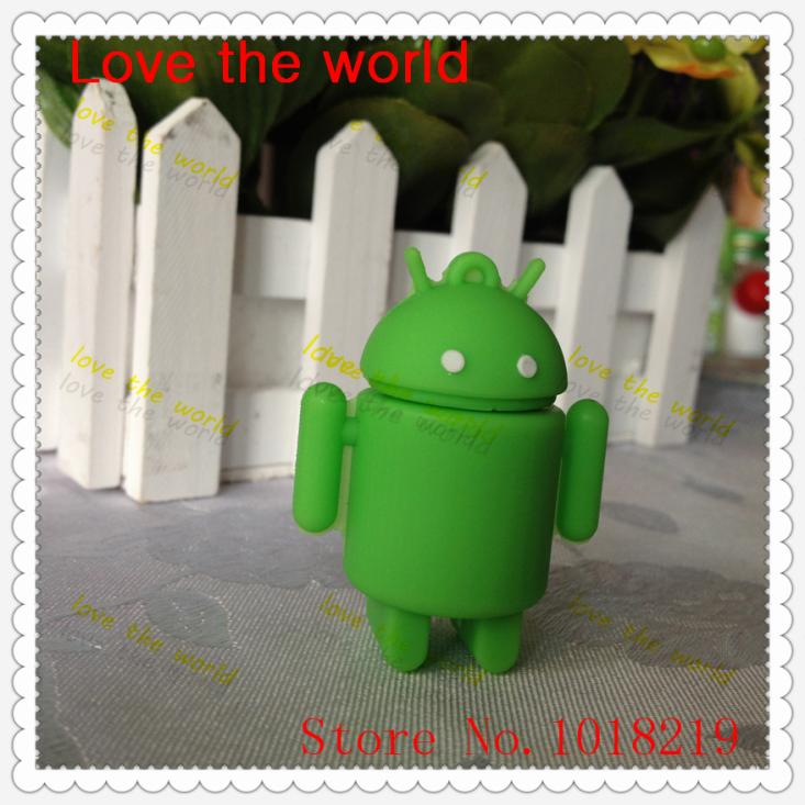 Free Shipping Cartoon Android Robot Rubber USB Flash Drive USB2.0(China (Mainland))