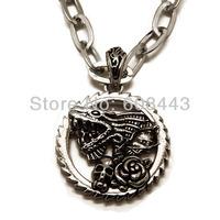 ND016 Punk Stainless Steel 4cm*4cm Dragon Rose Skull Round Pendant Long Necklace For Unisex Women Men Boys