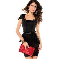 Fashion 2014 set paragraph short-sleeve ruffle skirt fashion sexy women one-piece dress 2827