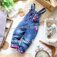 Fashion casual pants coveralls  Children's jeans  Girls wild Bib  Cotton jeans  Baby girl  Autumn denim trousers