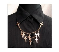 MinOrder$10(mix order)Free Shipping!Europe and the United States send double cross collar chain brooch