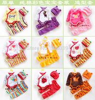Spring and autumn triangle bodysuit 100% cotton set 3 piece newborn set multicolour baby bodysuit trousers and cap