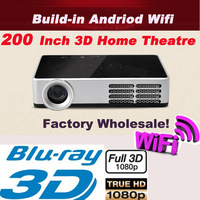 1080P Bray-ray 3D 1280*800 Native Resolution DLP Mini Projector 200Inch Screen Theatre Build-in Andriod Wifi 4.0  Factory Sell