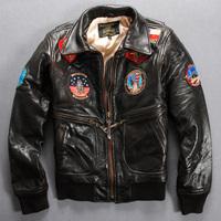 Free shipping men leather jacket avirex turn-down collar sheepskin flight suit male genuine leather clothing