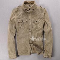 Free shipping men leather jacket collar male models retro matte suede jacket Slim