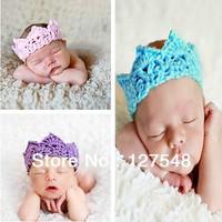 2014 new style stretch crochet headband for baby high quality handmade crown headband newborn photography props