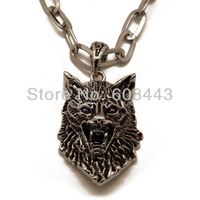 ND032 Cool Stainless Steel 5cm*3.5cm Big Wolf Pendant Long Necklace For Unisex Men Boys